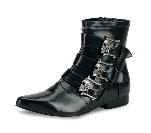 BROGUE-06, Winklepicker Boots with Skull Buckles