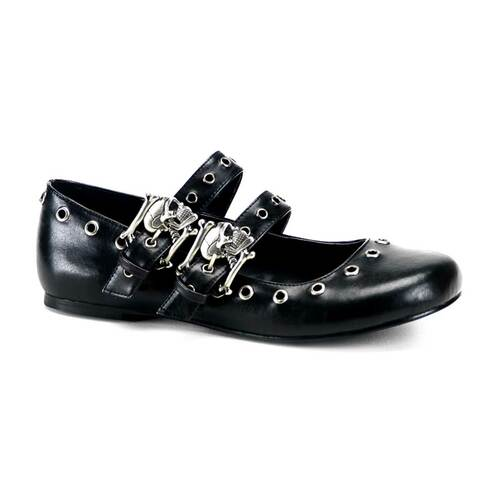 DAISY-03, Skull Buckle Flat With Eyelet Detailing Made by Demonia