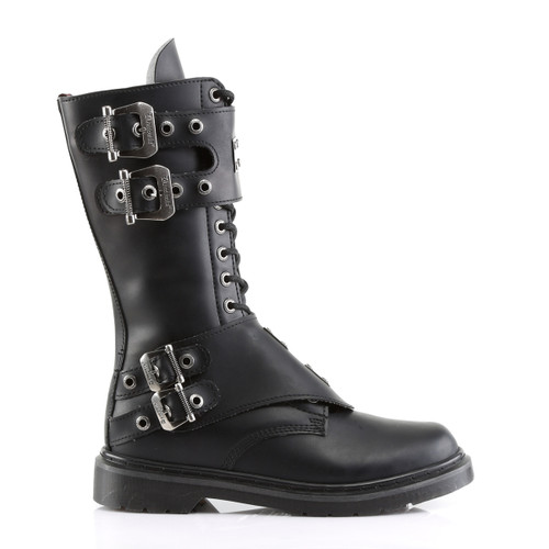 Demonia Defiant-302, Boots with Steel Plate Panel side view