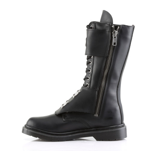 Demonia Defiant-302, Boots with Steel Plate Panel zipper side view