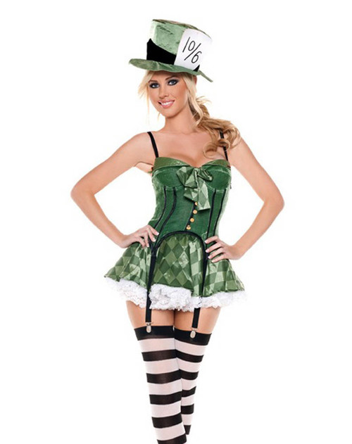 M9009, Mad Hatter costume includes bustier, skirt, hat and stockings