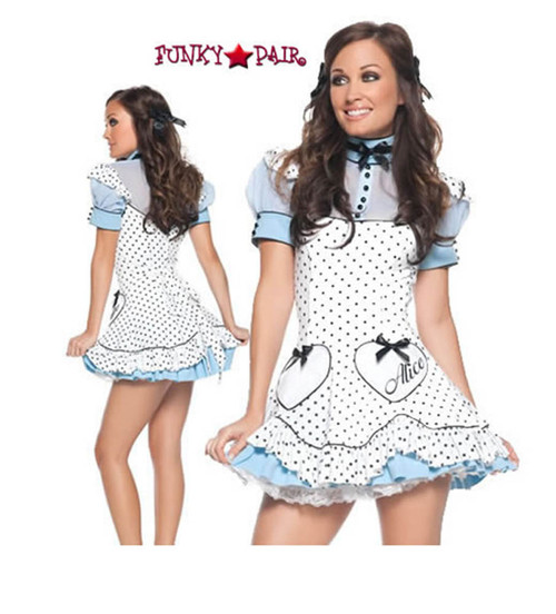 T0050, Polka Dot Alice costume features a polka dot with heart patch dress