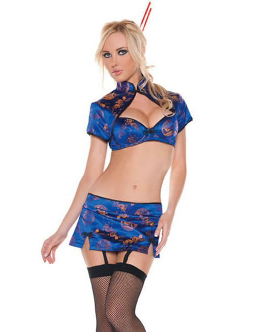 M0037, Sexy China Doll Costume includes a bra, skirt and bolero jacket