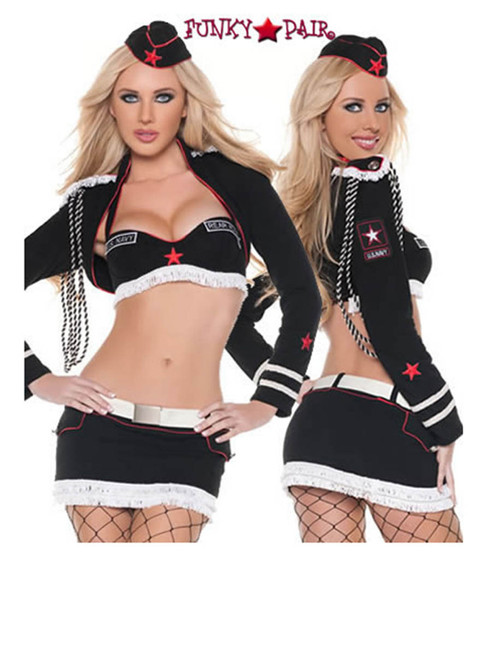 T9037, Sexy Rear Admiral costume includes, a bolero, bra, skirt, hat and belt
