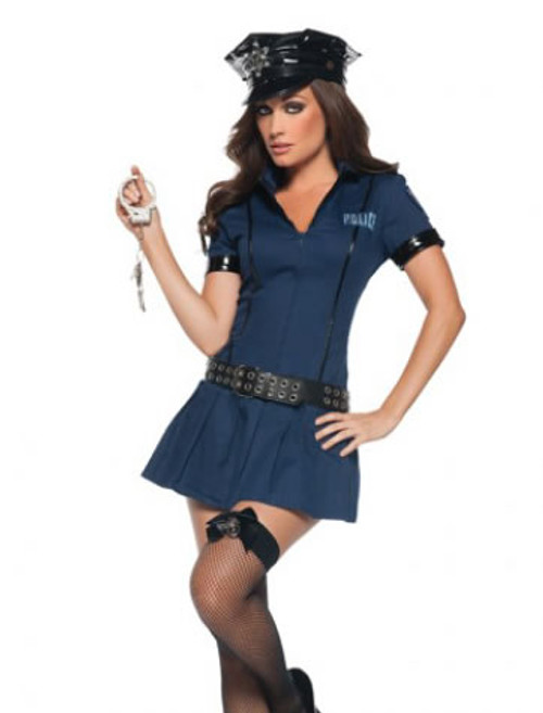 M8039, Police Babe costume includes, a zip-front dress, hat, belt and cuffs