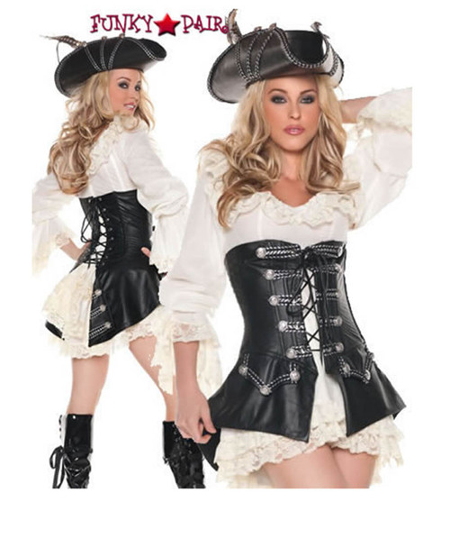 T0072, Rouge Pirate costume includes a dress and vest