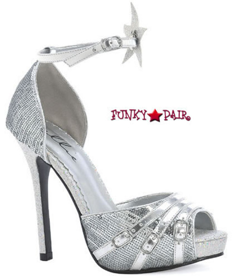 518-Sparkler, 5 Inch Stiletto High Heel with 1 Inch Platform with Star Made by ELLIE Shoes