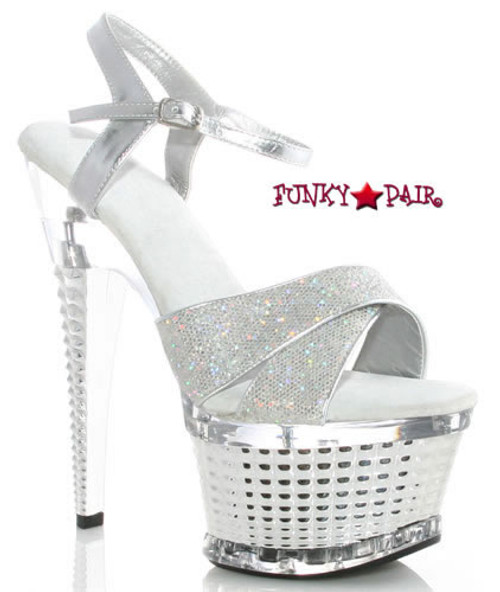 649-Disco, 6 Inch High Heel with 1.75 Inch Textured Platform with Glitter Strap Made by ELLIE Shoes
