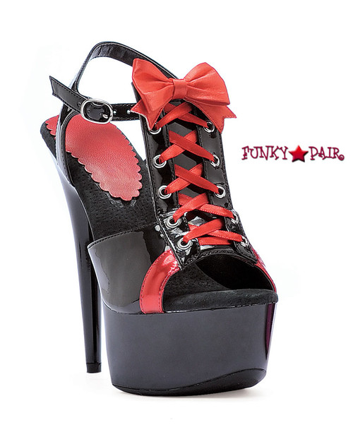 609-Gabby, 6 Inch High Heel with 1.75 Inch Platform Lace Up T-strap Sandal Color Black/ Red Made by ELLIE Shoes
