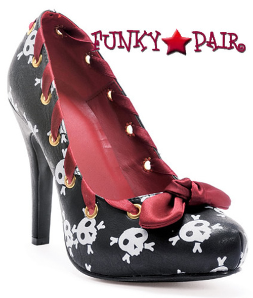 400-Ahoy, 4 Inch High Heel Pump with skulls Made By ELLIE Shoes