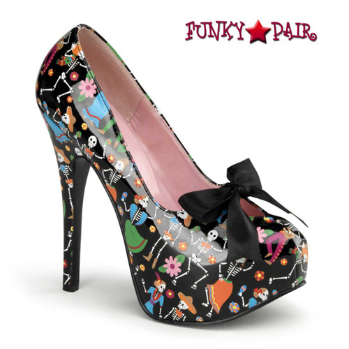 Teeze-12-4, Platform Shoes with Satin Bow | Pin-Up Couture