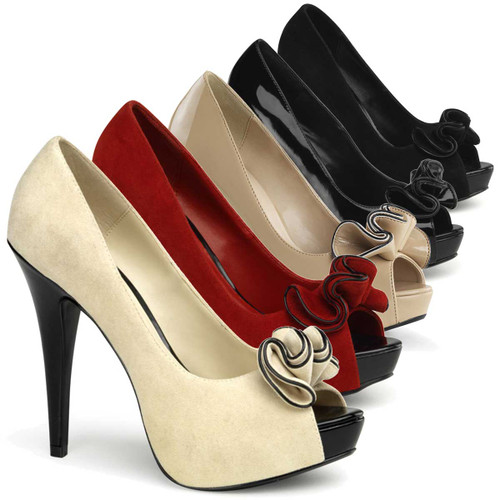Lolita-10, Peep Toe Pump with Ruffle Detail   Pin-Up Couture