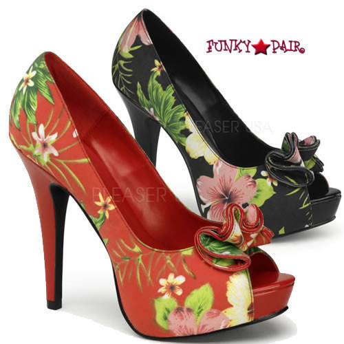 Pin-Up Couture   Lolita-11, Floral Peep Toe Pump with Ruffle Detail