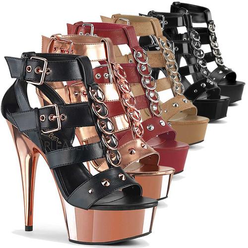 Stripper Shoes  Delight-658, Platform Strappy T-Strap Closed Back Sandal