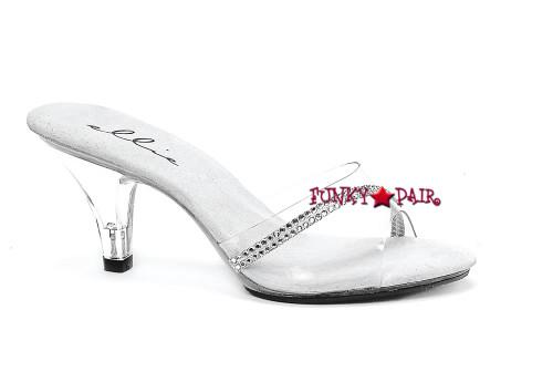 "Ellie Shoes | 305-Jesse 3"" Clear Heels with Rhinestones"