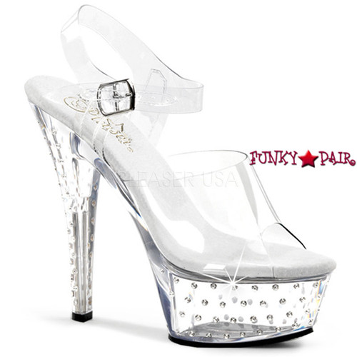 Stardust-608, 6 Inch High Heel with 1.75 Inch Platform with Clear Ankle Strap Rhinestones Studded Sandal