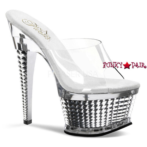 Pleaser Shoes Illusion-651, 6.5 Inch Textured Platform Slide