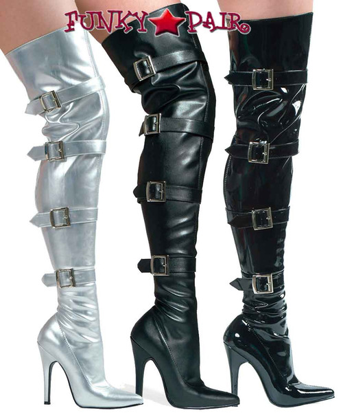 "Ellie Shoes | 511-Buckleup 5"" Thigh high boots w/Buckles"