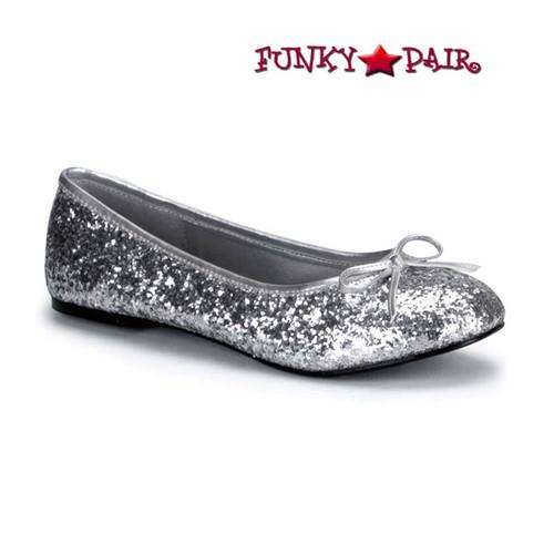 STAR-16G, Silver Women's Cosplay Glitter Flats | Funtasma Shoes