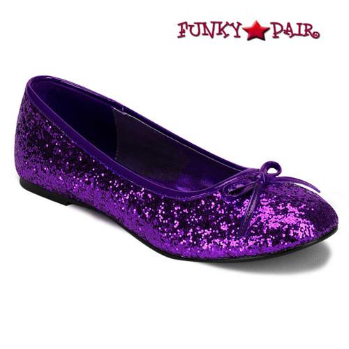 STAR-16G, Purple Women's Cosplay Glitter Flats | Funtasma Shoes
