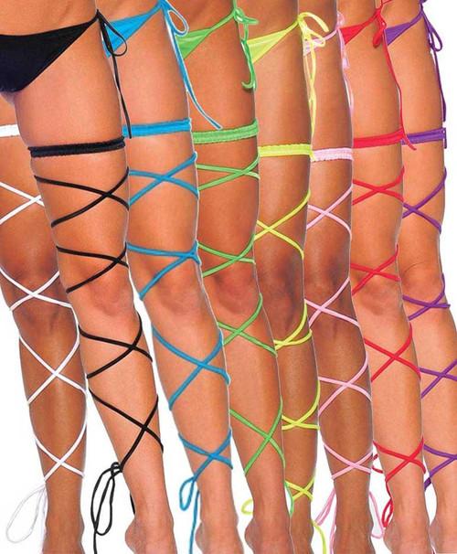 1040SL, Garter Set with Spaghetti Leg Wrap Color Available: Black, White, Red, Fuchsia, Baby Pink, Purple, Turquoise, Coral, Neon Green, Neon Yellow, Neon Orange