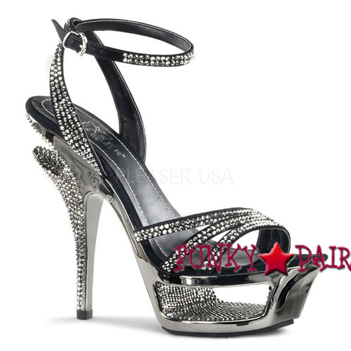 Deluxe-637, 5.5 Inch High Heel with 1.75 Inch Platform Rhinestone Ankle Wrap Sandal