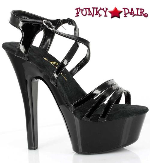 601-Dreamer, 6 Inch High Heel with 1.75 Inch Platform Dance Heels Made by ELLIE Shoes Black