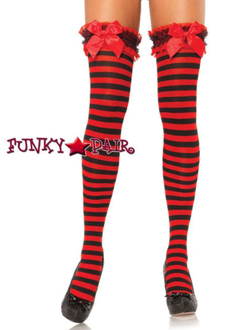 d5a4039b42c Red Black Garter Striped Thigh Highs