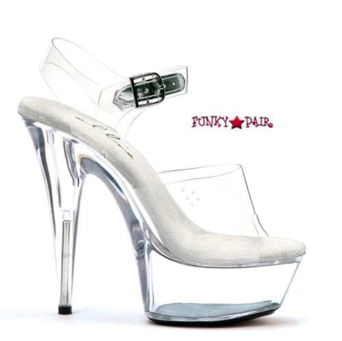 Discount Stripper Shoes  609-Brook Approximately 6 Inch Stiletto Heel Ankle Strap Clear Platform Slide Made by ELLIE Shoes @funkypair.com