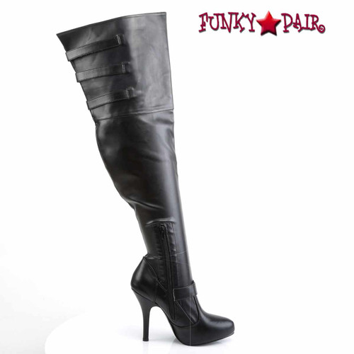 Diva-3006X, Wide Width/Calf Thigh High Boots Inner Side Zipper View