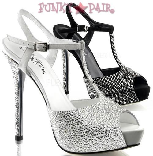 Prestige-10, 5 Inch high heel with 1 Inch Platform peep toe t-strap rhinestones sandal