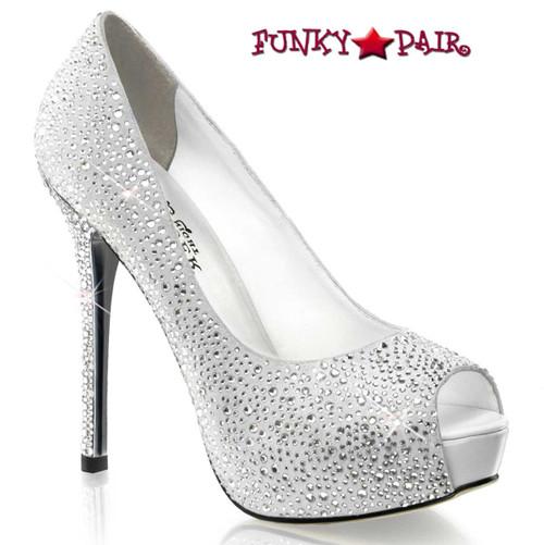Pleaser Shoes | Prestige-16, 5 Inch peep toe rhinestones pump