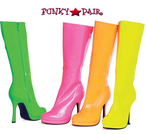 "Ellie Shoes | 421-ZENITH 4"" Neon Knee High Boots"
