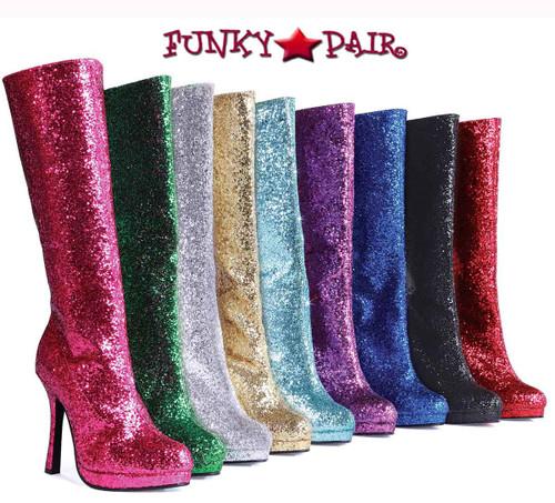 "Ellie Shoes | 421-ZARA 4"" Glitter Knee High Boots"