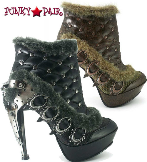 SteamPunk Ankle Boots with Plated Heel   Hades AGNES Color available : Black and Brown
