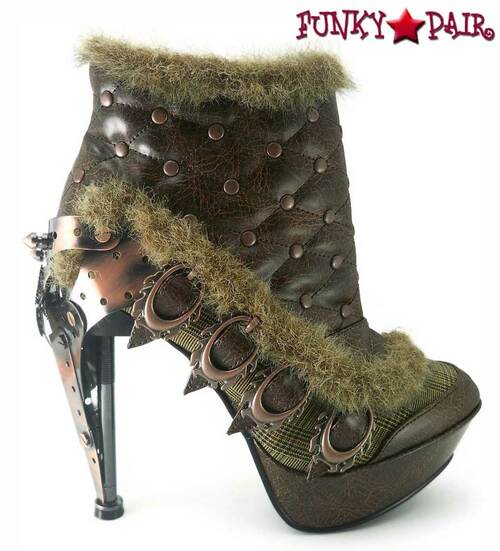SteamPunk Ankle Boots with Plated Heel   Hades AGNES Brown side view