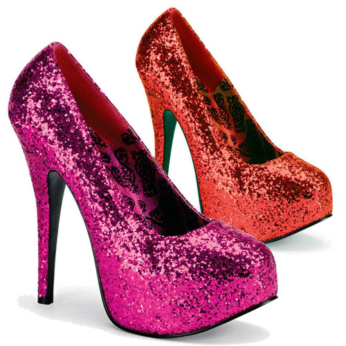 "5.75"" Heel Wide Width Glitter Pump TEEZE-06GW"