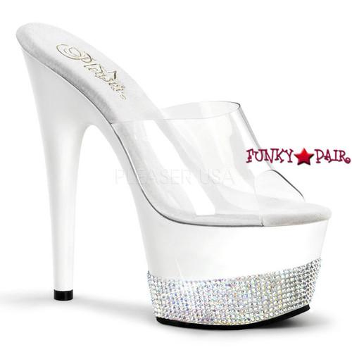 Adore-701-3, 7 Inch Stiletto Heel Slide With Rhinestones Color Clear/White