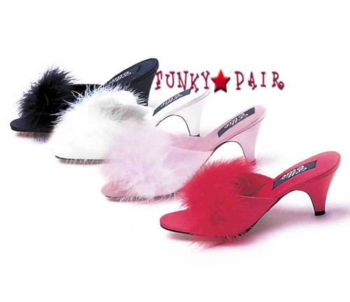 Phoebe, Marabou Slipper available in color: Black , Pink, Red, White . Made By ELLIE Shoes