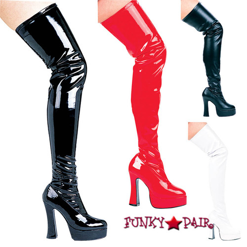 Thrill, 5 Inch Chunky Heel Thigh high boots sz 6-16 * Available in color: Black Patent, Black Faux Leather, Red Patent, White Patent Made by ELLIE Shoes