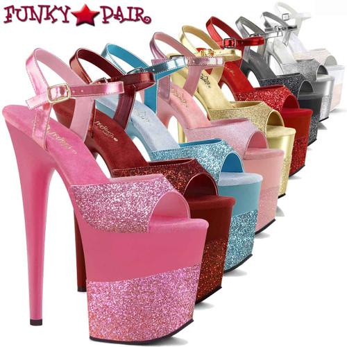Pleaser | Flamingo-809-2G, Glitter Ankle Strap Sandals | FunkyPair.com