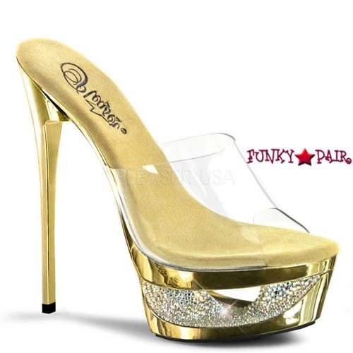 Eclipse-601DM, 6.5 Inch High Heel Slide Chrome Cut-out color gold