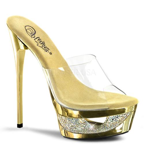 Pleaser Shoes | Eclipse-601DM, Slide Chrome Cut-out Platform