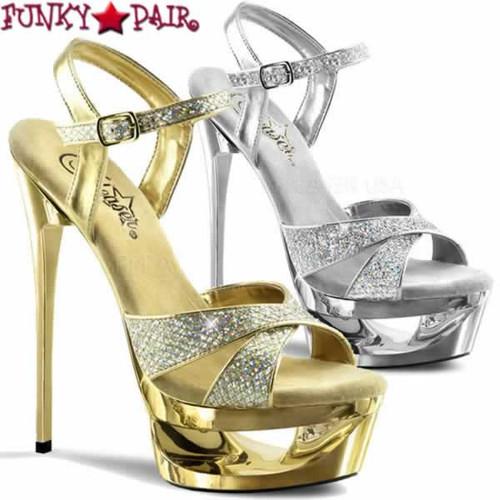 Stripper Shoes Eclipse-619G, 6.5 Inch Stiletto Heel Platform Glitter Sandal