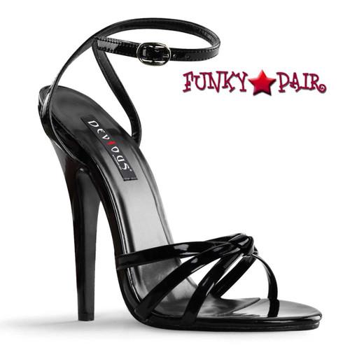 "Black 6"" Stiletto Fetish Heel Wrap Around Knotted Strap Sandal by Devious Domina-108"