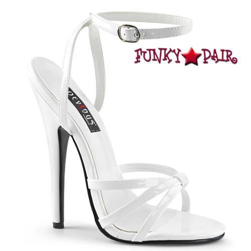 """Domina-108, 6"""" White Stiletto Heel Wrap Around Knotted Strap Sandal"""