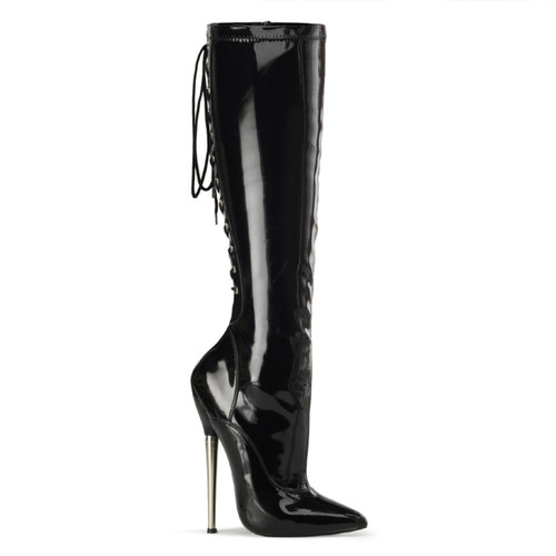 Fetish stiletto heel with back lace up knee high boots  Devious | Dagger-2064
