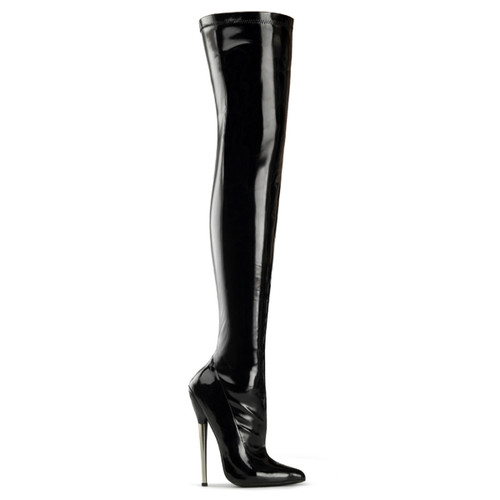 Fetish Solid Brass Heel Thigh High Boots Devious | Dagger-3000