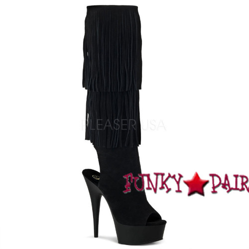 Delight-2019, 6 inch high heel open toe and back fringe knee high boot | Pleaser Shoes