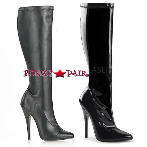 Devious | Domina-2000 Stiletto Knee High Boots Color available: Black Shiny Patent and Black Faux Leather